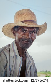 Portrait of an adult afro-descendant farmer man. March 7, 2010, Chincha Peru