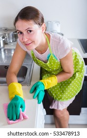 Portrait of adult american female houseworker with rag and cleanser indoors