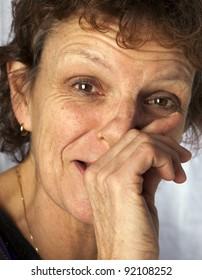 portrait of a adult sneezing