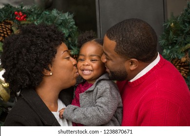 Portrait of an African American family during the holidays.