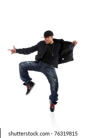 Portrait of African American hip hop dancer isolated over white background