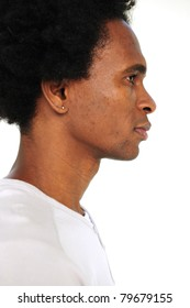 portrait of an african american man on white background
