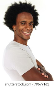 portrait of an african american man smiling on white background