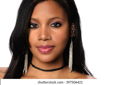 Portrait of African American woman isolated over white background