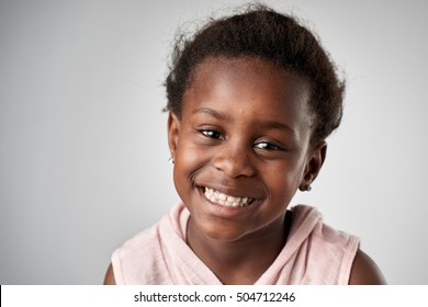 portrait of african black girl face in studio