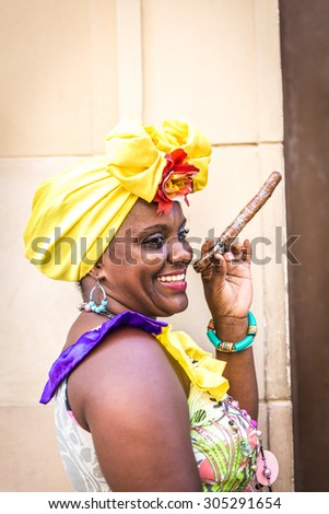 Portrait African Cuban Woman Smoking Cigar Stock Photo Edit Now