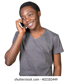 Portrait of african man talking on the phone isolated on a white