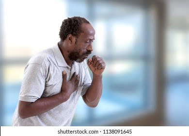 Portrait of Afro-American Man Coughing, Throat infection