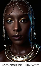 portrait of a afroamerican woman with jewelry