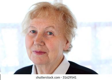 Portrait of aged woman