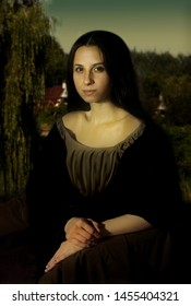 Portrait of agirl in the style of Mona Lisa. Art