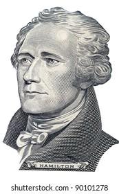 Portrait of Alexander Hamilton in front of the ten dollar bill