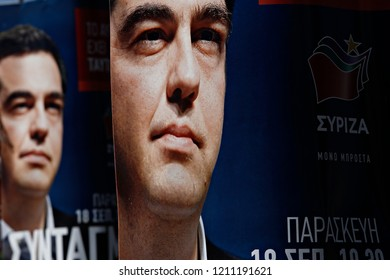 Portrait of Alexis Tsipras on political campaign posters of Syriza - Coalition of the Radical Left party for the upcoming national elections in Athens, Greece on Sep. 15, 2015