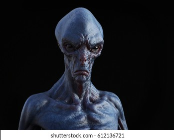 Portrait of an alien creature, 3D rendering. Black background.