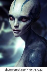 Portrait of a alien female . 3d rendering