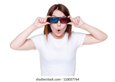 portrait of amazed girl in stereo glasses. isolated on white background