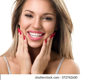 Portrait of amazing beautiful woman with beautiful smile