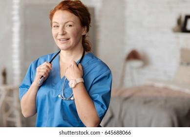 Portrait of amazing experienced distinguished nurse