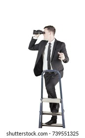 Portrait of an American businessman using a binocular while climbing on the ladder, isolated on white background