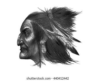 Portrait of american indian . color illustration .