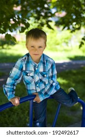 Portrait of the amusing five-year-old boy outdoor