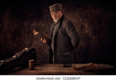Portrait of Ancient Novelist holding book with vintage textured background