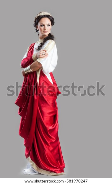 Portrait of Ancient Rome woman in red dress