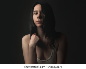 Portrait of androgynous girl in studio