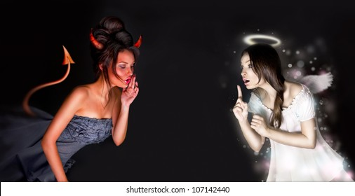 Portrait of angel and devil girls and copyspace between them.