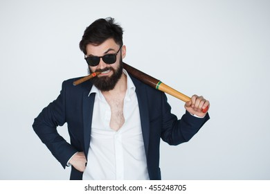 Portrait of angry bearded man isolated on white background. serious and strict debt collector