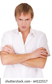 portrait of angry blond guy on white