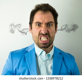 Portrait of angry insane Businessman