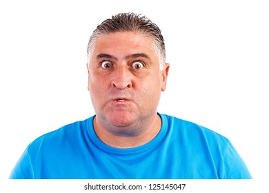 Portrait of an angry man isolated on white background