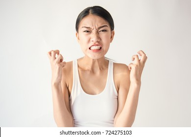 portrait of angry pensive mad crazy stress asian woman screaming out (expression, facial), beauty portrait of young asian woman burnout isolated on white background.
