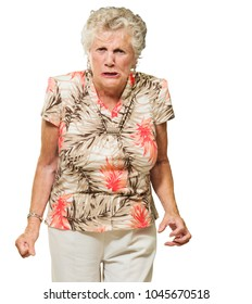 Portrait Of Angry Senior Woman On White Background