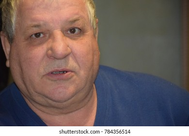 portrait of an angry Ukrainian pensioner