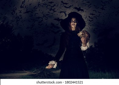 A portrait of an angry witch with a skull and a hook near the forest against the sky with lots of bats. Magic, dark force, spell.