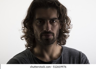 Portrait of anonymous man with backlighting