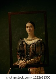 Portrait of a  antic  girl wearing a princess or countess dress over dark studio. portrait through picture frame