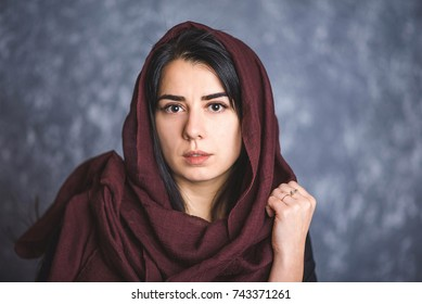Portrait Arab Women Long Dark Hair Stock Photo Edit Now 743371285