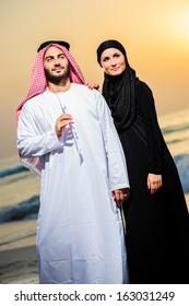 Portrait of Arabic dressed yang couple.
