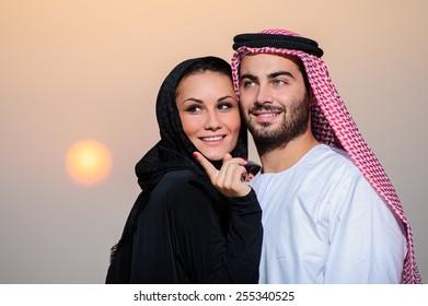 Portrait of Arabic dressed yang couple