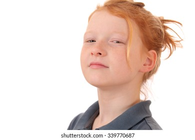 Portrait of an arrogant young teen girl on white background