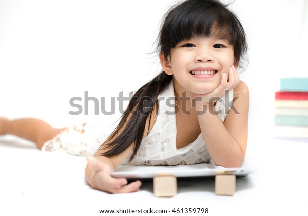 portrait asia children feeling happy