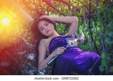 portrait of asia women with mask on nature, canival concept, add flare for mood and tone style
