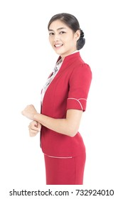 Portrait of Asian Air Hostess posing with White background, Woman stand and smile at isolated on white background, Woman with Air Hostess concept.