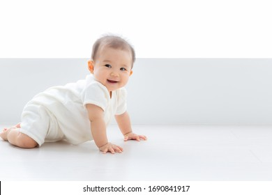 portrait of asian baby lying