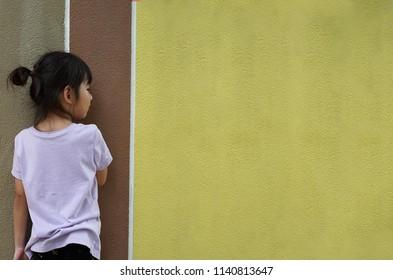 Portrait Asian back little girl