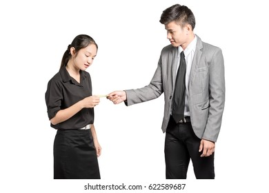 portrait of asian business man exchange a business card with beautiful business woman. Isolated on white background with copy space and clipping path
