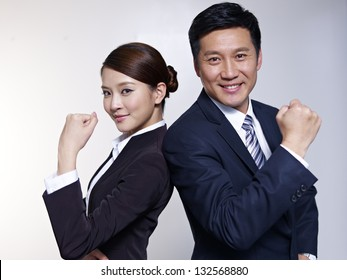 portrait of asian business people looking energetic.